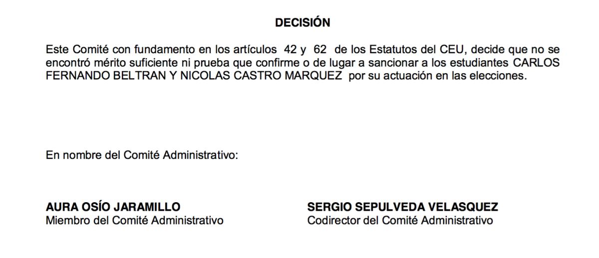 Beltrán y Castro, exonerados en nuevo proceso electoral